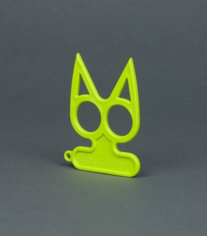 lime green cat self-defense keychain